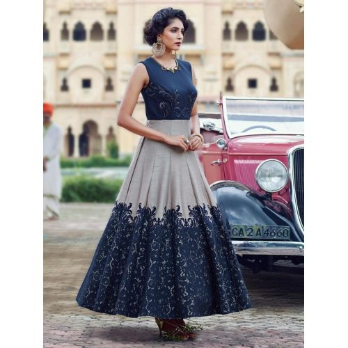 Navy Blue And Grey Silk Embroidered Anarkali Suit