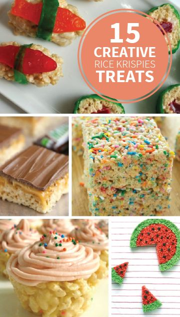 These 15 Creative Rice Krispies Treats® recipes are so fun to make with the kids for any occasion! Try a batch of birthday cupcakes, summer cookout watermelon treats, or candy sushi for some edible fun.