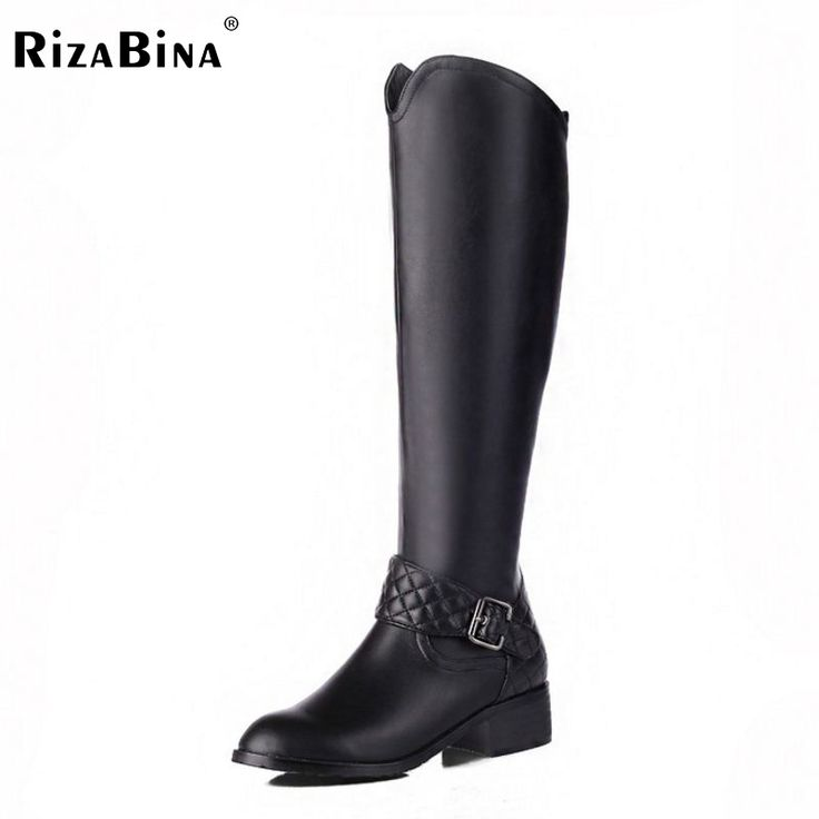 57.74$  Watch here - http://ai088.worlditems.win/all/product.php?id=32709825481 - Women Genuine Leather Round Toe Knee Boots Woman Square Heel Zipper Botas New Knight Boots Woman Shoes Size 33-46