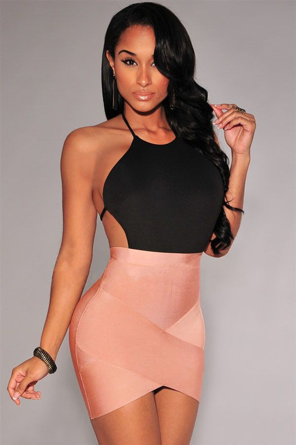 Jupes & Petticoat Nude Bandage Arque Mini Jupe Pas Cher www.modebuy.com @Modebuy #Modebuy #CommeMontre #me #sexy #prixdegros