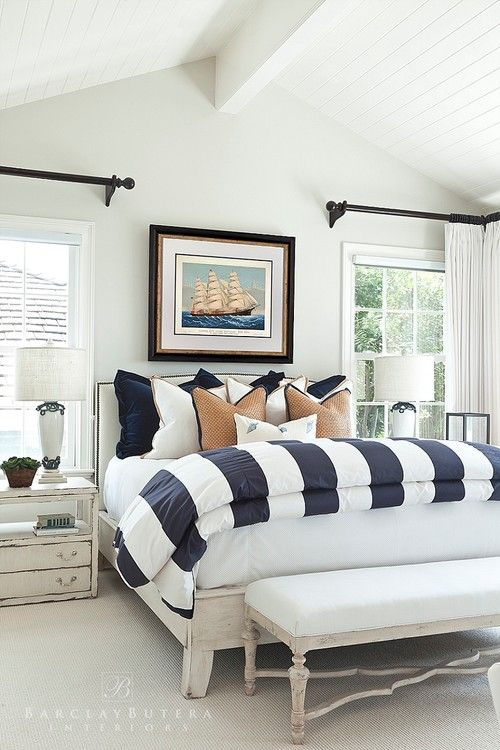 Coastal style is casual and relaxed, with nautical elements like bold stripes, natural textures, plenty of light, a bit of whimsy. See how to get the look.