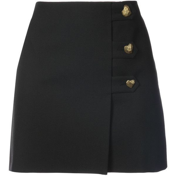 Saint Laurent heart button mini skirt ($953) via Polyvore featuring skirts, mini skirts, black, button front mini skirt, straight skirts, yves saint laurent skirt, high waisted short skirts and button front skirt