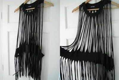 "DIY fringe dress from over sized t-shirt. Beach ""cover-up"" ;-)"