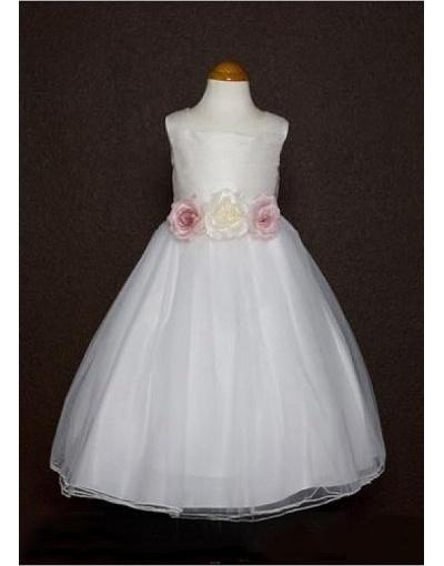 Attraente Raso & Organza Ball Gown Quadrato Scollo Abito da Cerimonia Bambina Con Fiori Manufatti in Ventita Online