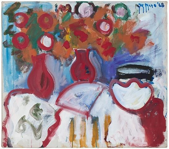Robert De Niro, Sr., Table Still Life with Red Vases, Fan and Bowl