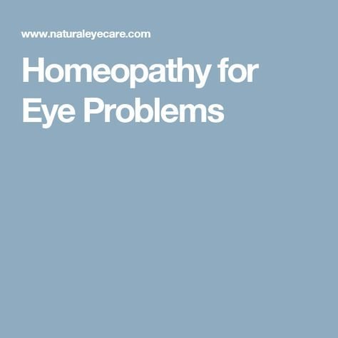 Homeopathy for Eye Problems