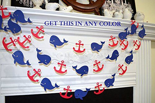 Whale Garland, Nautical Anchor whale decoration, nautical baby shower, Grey navy whale teal anchor wedding garland, nautical bride/birthday