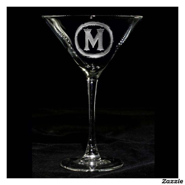 Beautiful Monogrammed Martini Glass