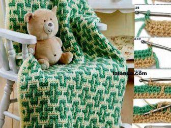 Yeşilli Desenli Erkek Bebek Battaniyesi | Falanca Kadın Portalı