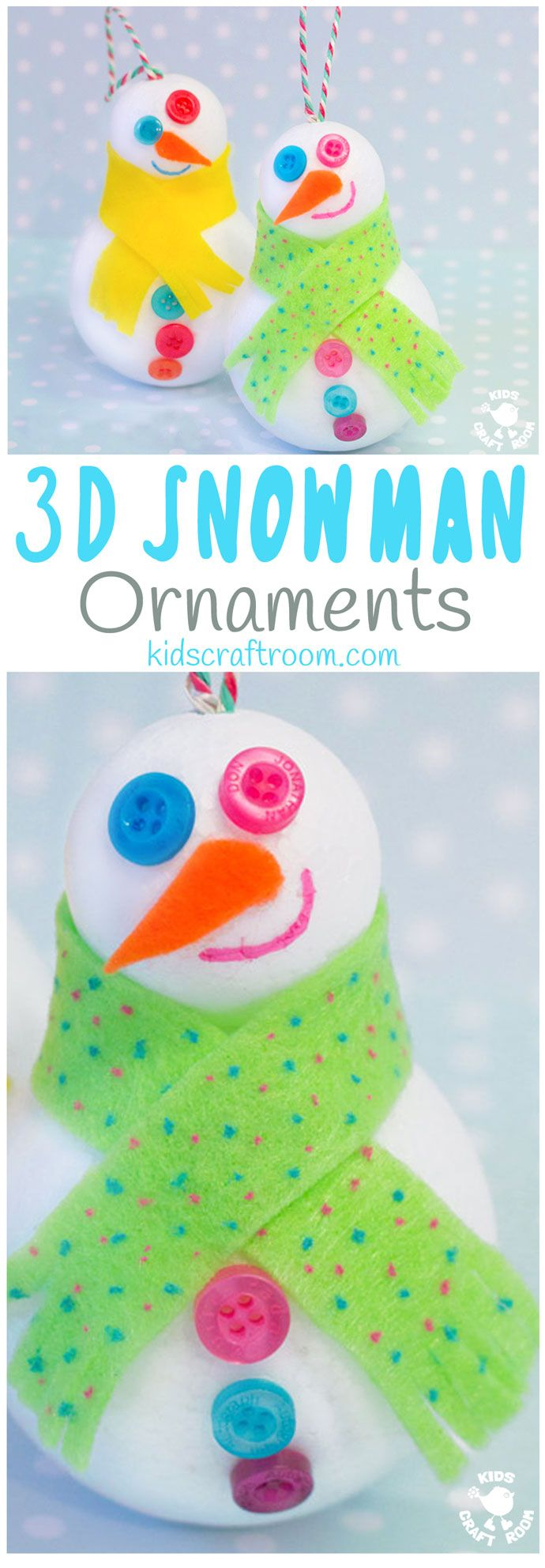 CUTE SNOWMAN ORNAMENTS - Easy 3D Snowman Craft for kids - great for hanging on the Christmas tree or for small world play. Kids will love how quick it is to make a Snowman friend. #christmas #winter #christmascrafts #wintercrafts #ornaments #snowman #snowmen #snowmancraft #wintercraftideas #kidscrafts #kidscraftroom  via @KidsCraftRoom