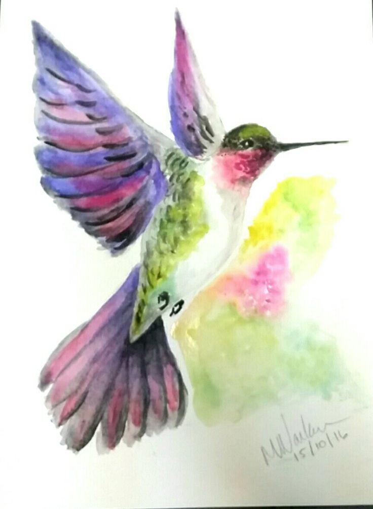 My first hummingbird watercolor