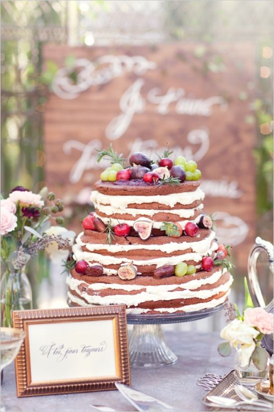 Naked Wedding Cakes—our favorite wedding cake trend right now. {Photo by Half Orange Photography via Project Wedding}