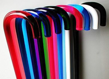 Love these translucent colour walking canes. Not sure about the ergonomics, but the colours are cool.