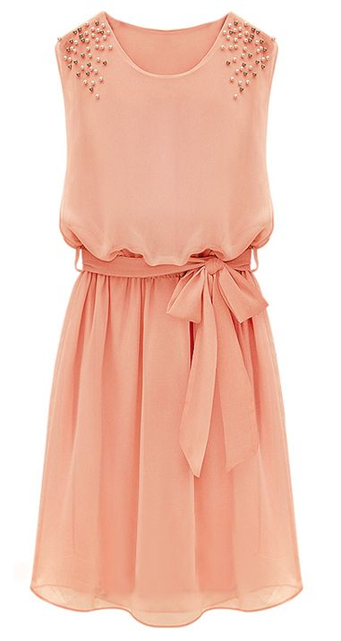 Pink Sleeveless Bead Belt Chiffon Sundress - http://Sheinside.com find more women fashion ideas on www.misspool.com