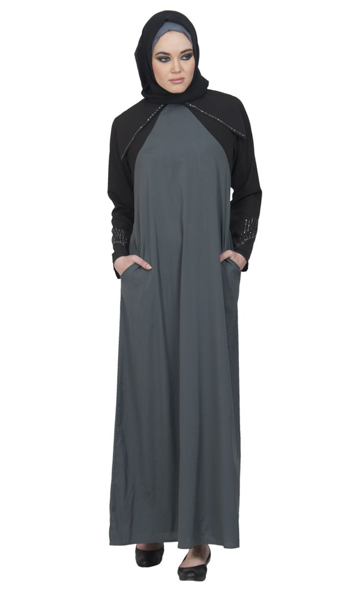 Crystal Trim Color Block Abaya - Grey