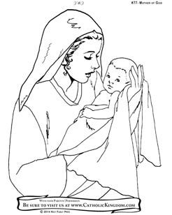Mary, Mother of Jesus Catholic Coloring Page for kids to colour