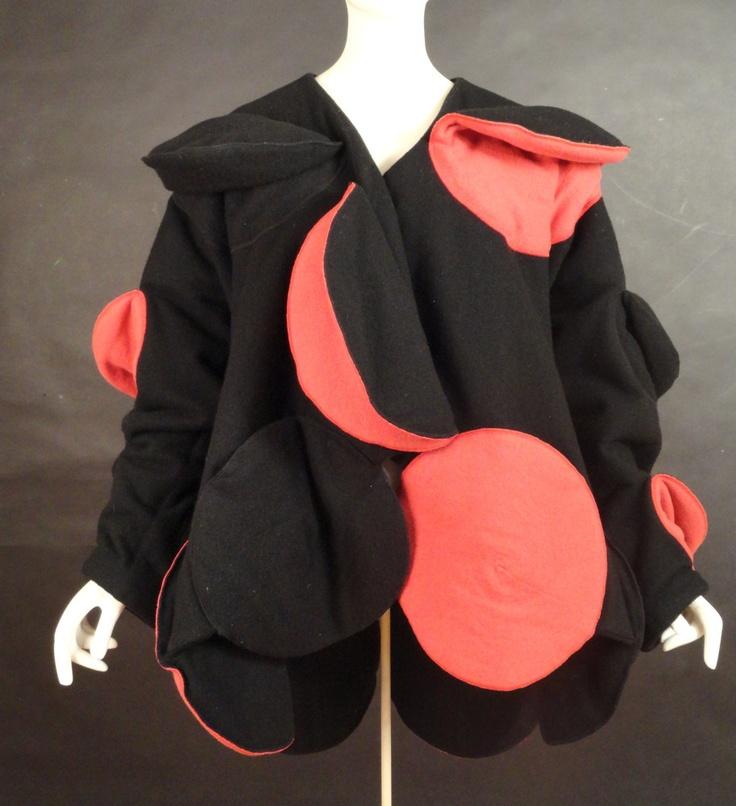"Fall, 1990 Black  Red Wool ""Issey Miyake"" Bubble Coat"