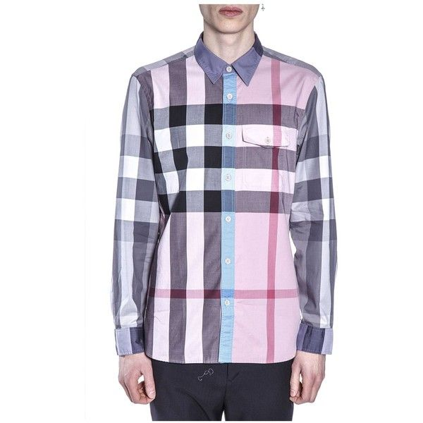 Cotton Checked Shirt (€225) ❤ liked on Polyvore featuring men's fashion, men's clothing, men's shirts, men's casual shirts, menclothingshirts, mens rose shirt, mens cotton shirts, mens contrast collar shirt and mens checked shirts