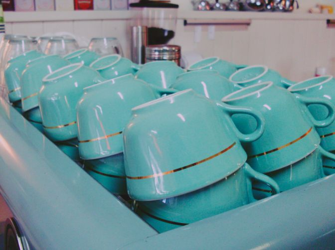 Pretty turquoise coffee cups