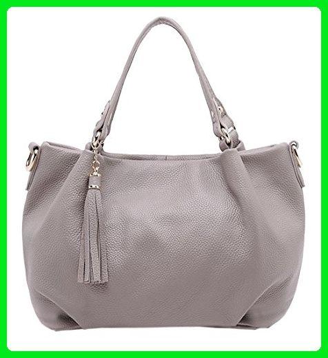 SAIERLONG New Womens Grey Fashion Soft Leather Handbags Shoulder Bags - Shoulder bags (*Amazon Partner-Link)