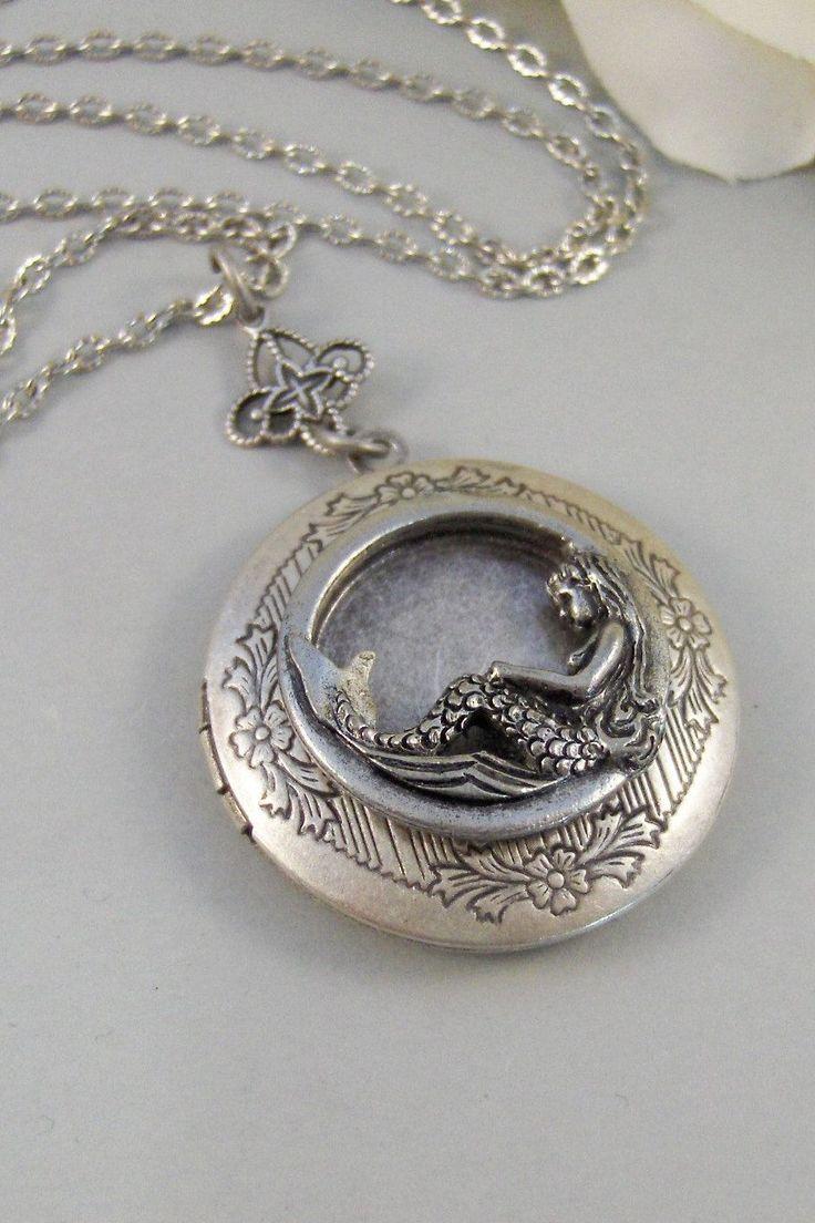 Siren's Call,Locket,Mermaid, Mermaid Locket,Antique Locket,Silver Locket,Goddess,Ocean Locket,Handmade jewelry by valleygirldesigns. $32.00, via Etsy.