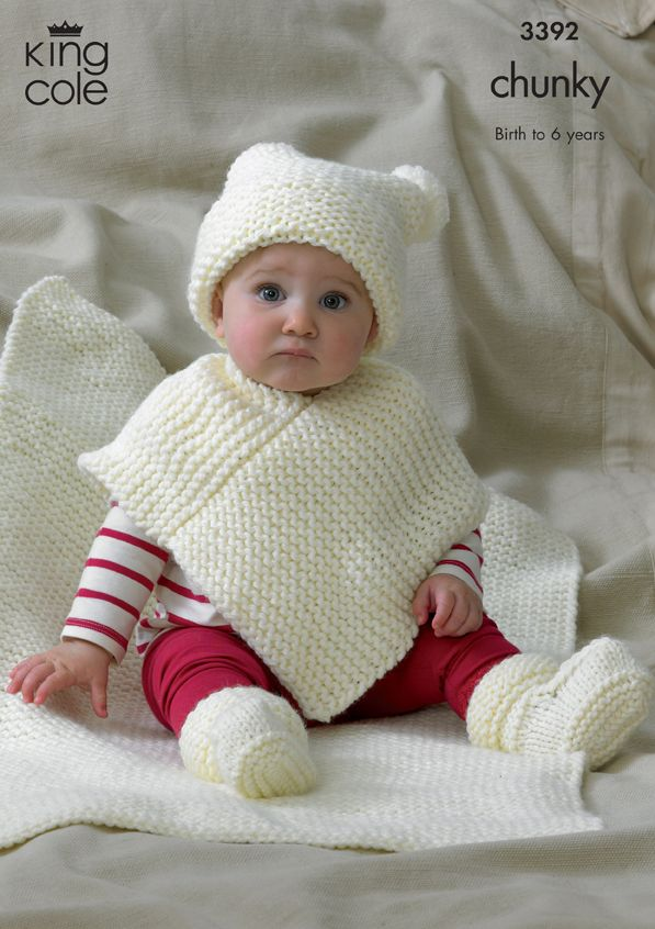 Baby Hat, Poncho, Bootee & Blanket Knitting Pattern 3392 - King Cole