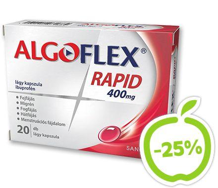 Algoflex Rapid lágyzselatin kapszula 20x. Rád tör a fejfájás? Miért várnál? Az Algoflex Rapid modern gyógyszerformájának köszönhetően  gyorsan felszívódik. A lágyzselatin-kapszulában oldott hatóanyag azonnal felszabadul,  így hatékonyan űzi el a fejfájást. Hatóanyag: ibuprofén. Vény nélkül kapható gyógyszer: A kockázatokról és a mellékhatásokról olvassa el a betegtájékoztatót, vagy kérdezze meg kezelőorvosát, gyógyszerészét! EP kártyára kapható. Eredeti ár: 1669 Ft, Akciós ár: 1259 Ft