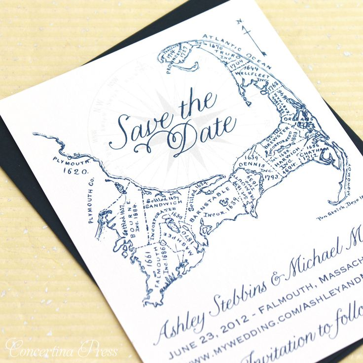 Cape Cod #wedding save the date - navy antique map - can be personalized with heart!