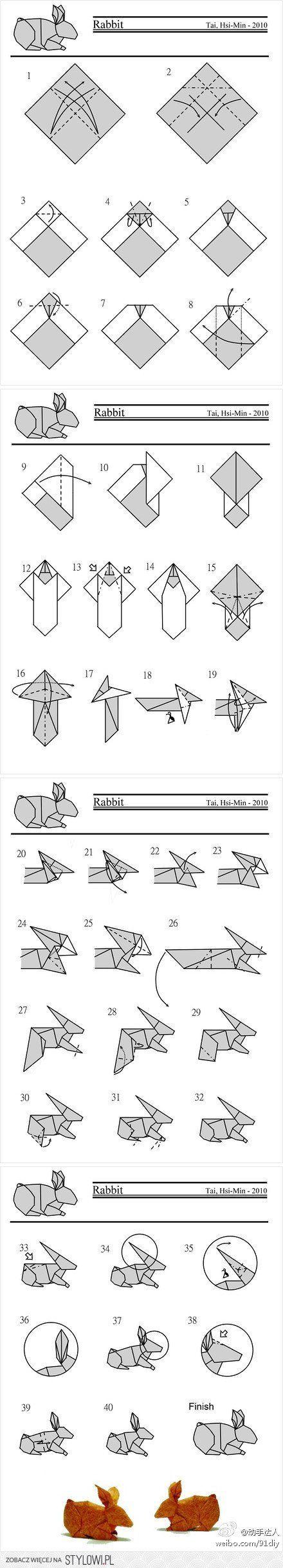 Cute Konijn Origami Folding Instructies | Origami Inst ... op Stylowi.pl