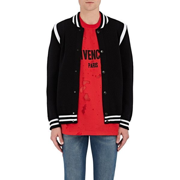 Givenchy Men's Logo-Embroidered Wool-Blend Varsity Jacket ($1,450) ❤ liked on Polyvore featuring men's fashion, men's clothing, men's outerwear, men's jackets, black, mens reversible jacket, mens varsity jacket, men's embroidered bomber jacket, mens varsity bomber jacket and men's varsity style jackets