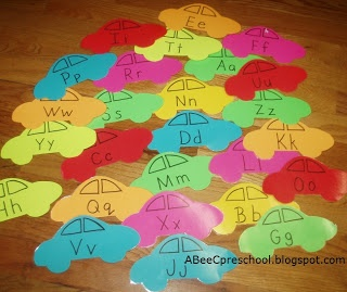 Transportation Theme  For letter recognition we played muscial alphabet cars.  Spread the cars around the room.  When the music stops the student standing closest to the letter called gets to pick it up.  A, Bee, C, Preschool