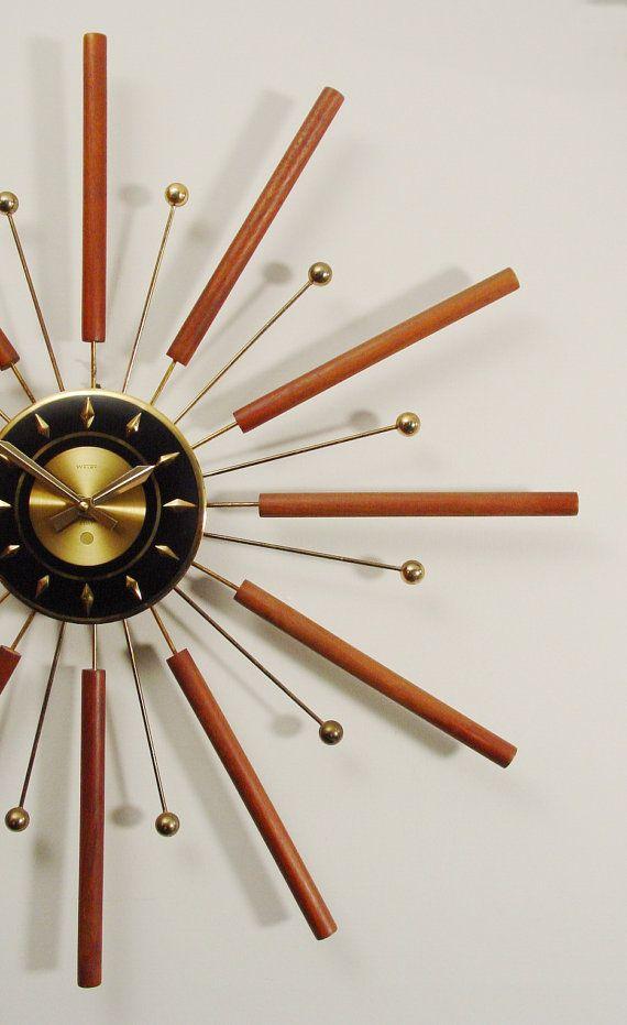 Starburst Wall Clock MidCentury Modern Sun Burst by ClubModerne, $275.00