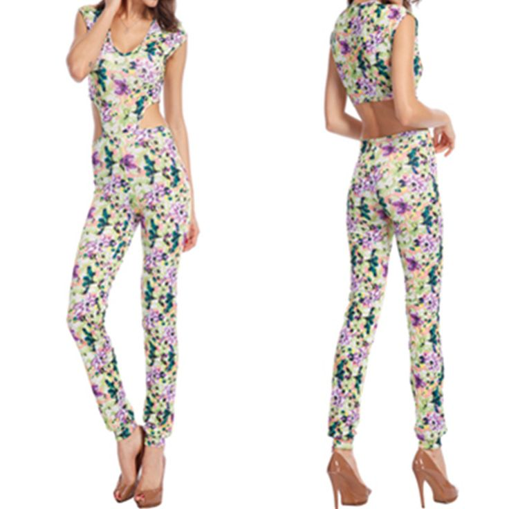 2016 hot new women clothing Flower Halter printed jeans look jumpsuit sexy lady catsuit Bodysuit Shorts Floral Jumpsuit Price: USD 19.89 | United States
