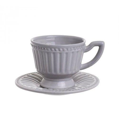 S_4 STONEWARE TEA CUP W_SAUCER IN GREY COLOR 15_5X15_5X9_5