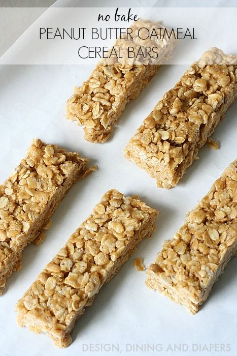 No Bake, Peanut Butter Oatmeal Cereal Bars! So easy to make. Great snack idea.