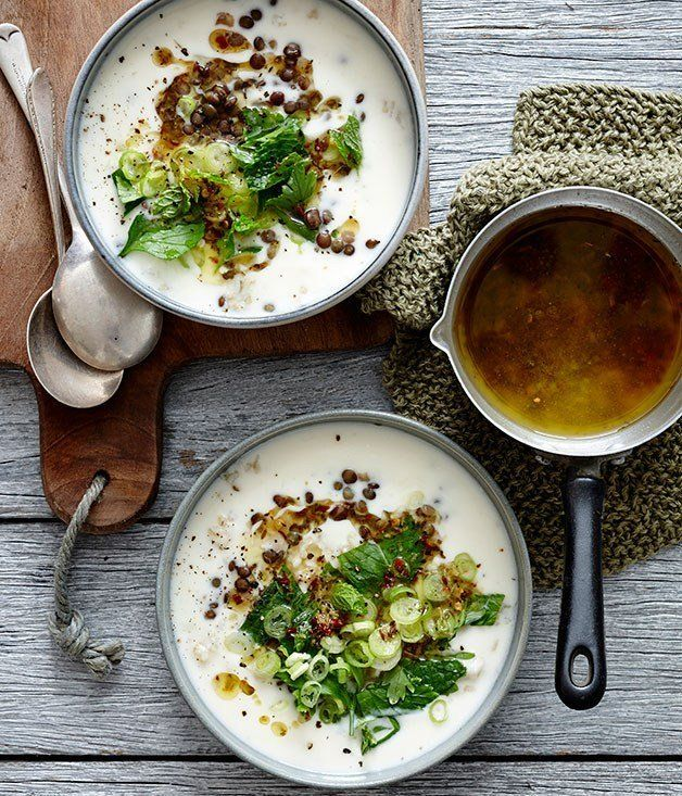 Lemon Yoghurt Soup with Lentils, Brown Rice & Herbs
