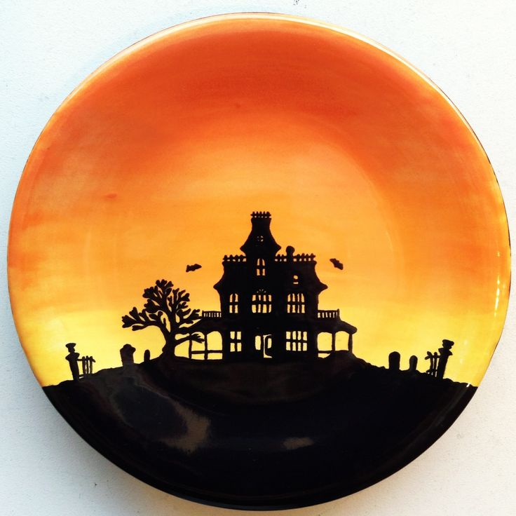 haunted halloween house plate paint your own pottery paint your pot cary - Halloween Plates Ceramic