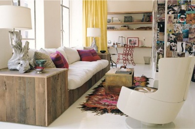 Family room - ivory/neutral furniture with colorful accessories