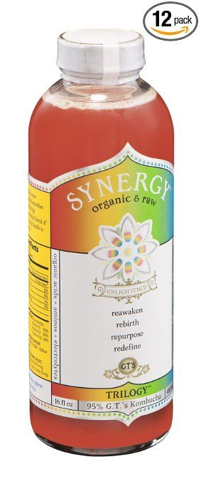 GTs Enlightened Synergy Organic and Raw Kombucha Trilogy, 16 Ounce -- 12 per case.~From the variety of flavors of GT's Synergy Drinks, $4 dollars a Bottle – Best Energy Drink ~Save Yourself 56 grams of Sugar and 200 calories.  Also use coconut water as a natural energy drink!