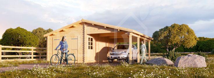 Garage en bois 400x600 44mm+Carport 3x6, 42m²