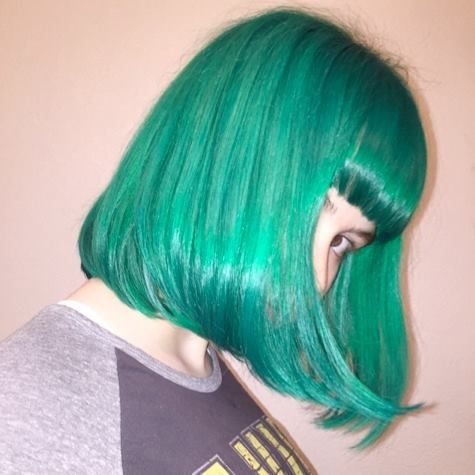 @AnnieJo99's bob with bangs is so chromatic, it looks too good to be true! But this is all her gorgeous real hair, and it's been dyed with Manic Panic! To get a beautiful shade of royal emerald like her, bleach your hair to a level 9 or 10 blonde before applying our Green Envy. This color is available in both the Classic formula, which lasts 4-6 weeks, and the Amplified, which lasts 30% longer.