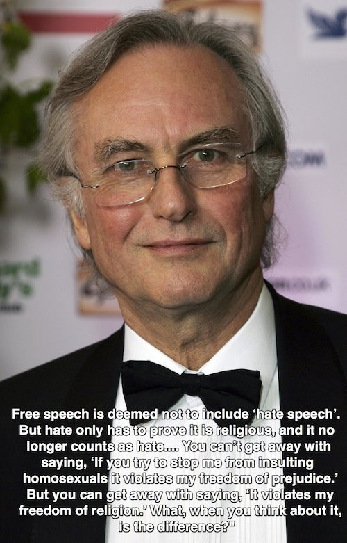 Richard Dawkins on freedom of speech and religious people disguising their hate speech as freedom of religion.