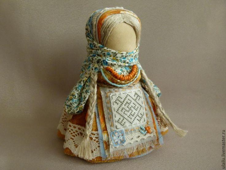 """Купить Кукла-оберег """"Одолень-трава"""" - оранжевый, кукла ручной работы, кукла народная, оберег"""