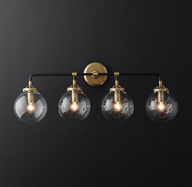 brass bathroom lighting fixtures. rh modernu0027s bistro globe bath sconce 4lightinspired by 1940s industrialism our brass bathroom lighting fixtures p