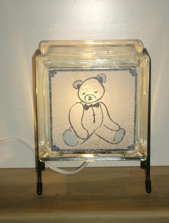 Teddy Bear Lamp FREE SHIPPING upcycled blue white handmade
