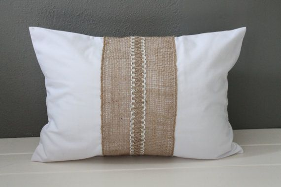 Modern Rustic Pillow: White Cotton and Jute Farmhouse Throw Pillow, Country Toss Pillows, Shabby ...