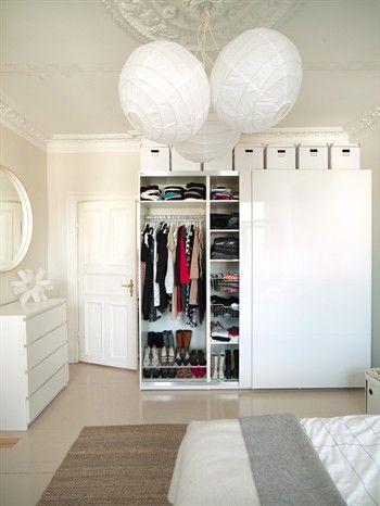 White Storage Boxes On Top Of Ikea Wardrobe Love It