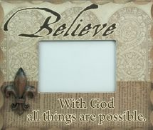 PHOTO FRAME: WITH GOD ALL THINGS ARE POSSIBLE. CLASSIC. STYLISH. INSPIRATIONAL. The perfect way to accent your home & decorate with meaning. Wooden photo frames with easel backs: Frame size: 238mm x 19mm x 200mm Photo Size: 140mm x 89mm.