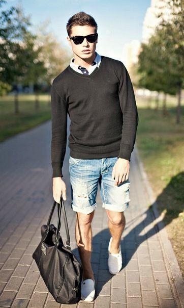Shop this look for $364:  http://lookastic.com/men/looks/crew-neck-sweater-and-polo-and-denim-shorts-and-espadrilles-and-tote-bag/2645  — Black Crew-neck Sweater  — White Polo  — Light Blue Denim Shorts  — White Canvas Espadrilles  — Black Leather Tote