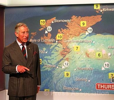 The Prince of Wales reads the weather whilst on a tour of the BBC Scotland headquarters in Glasgow to mark the 60th anniversary of BBC Scotland television, 10 May 2012.